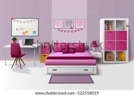 Teen Girl Room Modern Interior Design Stock Vektorgrafik Lizenzfrei