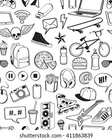 Teen have fun concept. Seamless Vector pattern. Hand drawn doodle icons set. Sport, music, food, symbols and objects for teenagers. Isolated on white background. Design for print, Wrapping paper