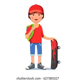 Teen kid boy in baseball cap wearing backpack standing and holding skateboard with fire print. Young hipster skater in keds. Flat style character vector illustration isolated on white background.