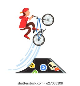 Teen kid doing stunt jump from skate park quarter pipe ramp on a bmx bike. Boy riding extreme sport bicycle wearing hoodie and baseball cap. Flat style character vector illustration isolated on white.