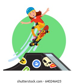 Teen kid doing stunt jump from skate park quarter pipe ramp on skateboard. Extreme sport boy riding board wearing safety helmet & kneepads. Flat style character vector illustration isolated on white.