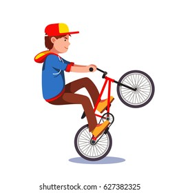 Teen kid doing wheelie stunt on a bmx bike. Boy riding extreme sport bicycle wearing hoodie and baseball cap. Flat style character vector illustration isolated on white background.