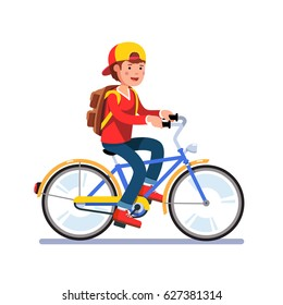 Teen kid school boy cycling on bicycle wearing backpack and baseball cap. Young teen man hipster riding retro bike. Flat style character vector illustration isolated on white background.