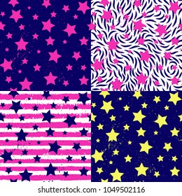 Teen party abstract stars, striped seamless pattern set. Vector fashion texture, bithday fids background