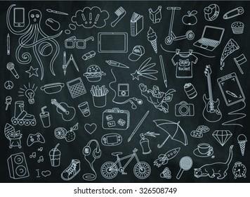 teen pattern on the chalkboard background