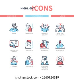 Teen problems - line design style icons set with blue, red color filling. Teenagers having troubles with parents, personal identity, at school. Stress, fear, depression and loneliness of young adult