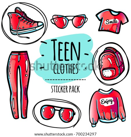 0995bba66d2f Royalty-free stock vector images ID  700234297. Teen red clothes and  sunglasses sticker pack in 80-90 s style. Colorful isolated icons for  fashion patches