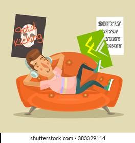 Teen resting at home. Vector flat cartoon illustration