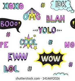 Teen slang cool words abbreviations hand drawn doodle colorful seamless pattern vector