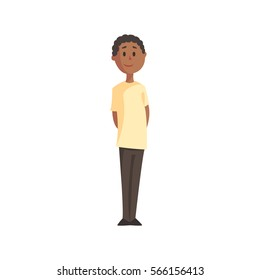 Teenage Black Boy In White T-shirt And Trousers Smiling,Part Of Family Members Series Of Cartoon Characters