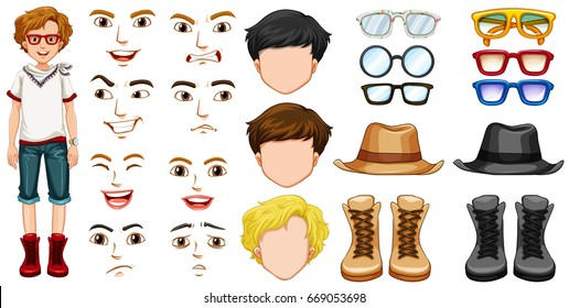 Teenage boy with different accessories and emotions illustration