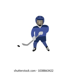 Teenage boy in helmet and uniform playing hockey with puck and pole, winter sport, flat style vector illustration isolated on white background. Flat cartoon boy playing hockey in gatekeeper uniform