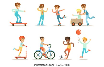 Teenage Boy Outdoor Activities Set, Boy Doing Sports, Riding Bicycle, Kick Scooter, Skateboard Rollerblading, Playing Soccer Vector Illustration