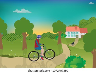 Teenage boy ride a bicycle to the house in the village