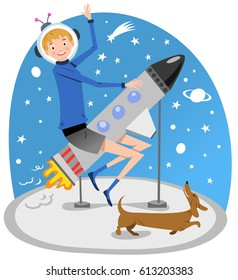 Teenage boy riding on a dummy rocket off to space, dachshund jumping around (vintage vector illustration)