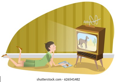 Teenage boy watching program on vintage tube TV (vector graphic)