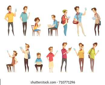 Teenage boys groups with electronic smart cellphones gadgets communicating online retro cartoon icons collection isolated vector illustration