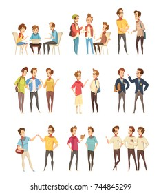 Teenage boys groups talking and communicating with electronic smartphone devices retro cartoon icons collection isolated vector illustration