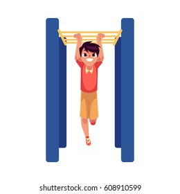 Teenage Caucasian boy climbing, hanging on monkey bars at the playground, cartoon vector illustration isolated on white background. Boy climbing monkey bars, having fun at the playground