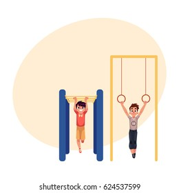 Teenage Caucasian boys hanging on gymnastic rings and monkey bars at the playground, cartoon vector illustration with place for text. Boys doing gymnastic exercises at the playground