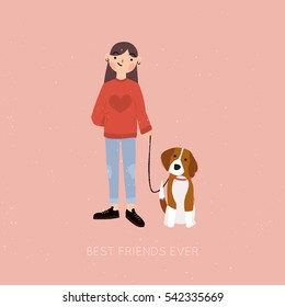 Teenage girl with a beagle puppy. Cartoon vector illustration.