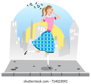 Teenage girl listening to music from headphones and dancing on sidewalk; city silhouette in background (flat color illustration)