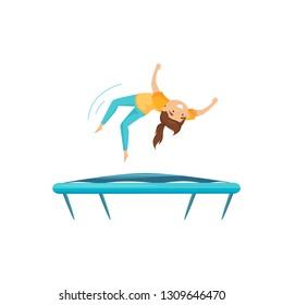 Teenage girl practicing to do backflip on trampoline. Active leisure. Cartoon character. Flat vector design
