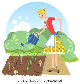 Teenage girl watering vegetable beds in garden (vector illustration)