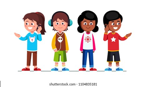 Teenage girls & boys children standing & using mobile phones making calls. Schoolgirls and schoolboys teens cartoon characters set. Boy listening to music using headphones. Flat vector illustration