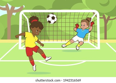 Teenage girls play soccer with their heads hitting a soccer ball into the goal. Vector illustration in cartoon style, isolated black and white line art
