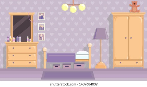 the teenage girls room in lilac . Vector image in flat design style. Paper space with place for text