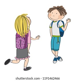 Teenage love. Young schoolboy meeting his schoolmate, blonde girl. They are waving, greeting each other. Original hand drawn illustration.