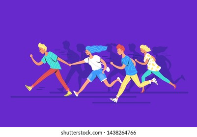 Teenage people running forward concept vector illustration of happy teenagers hurrying together to reach the goal. Young various men and women wearing casual clothes making haste and running forward