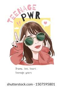 teenage power slogan with cartoon girl in sunglasses