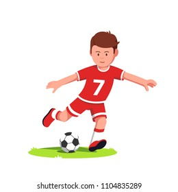 Teenage soccer player boy playing and kicking ball on the run on football field grass. Young soccer player boy kid wearing uniform cartoon character. Flat vector clipart isolated illustration