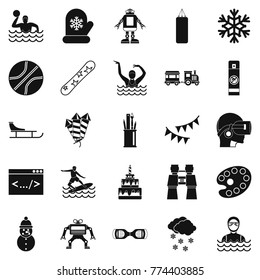 Teenage sport icons set. Simple set of 25 teenage sport vector icons for web isolated on white background