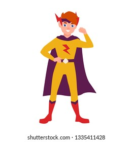 Teenage superhero, superboy or superkid standing in heroic pose. Young boy wearing bodysuit and cape. Brave and confident hero kid or child. Colorful vector illustration in flat cartoon style.