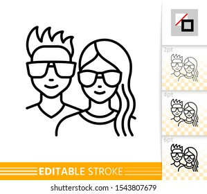 Teenager avatar girl and guy face line icon. Young people outline portreit. Linear hipster character person. Social user, female, male, student. Modern hairstyle, glasses. Isolated vector illustration