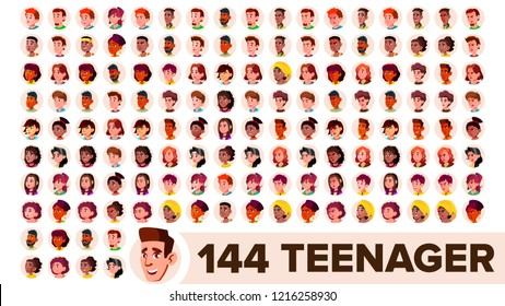 Teenager Avatar Set Vector. Girl, Guy. Multi Racial. Face Emotions. Multinational User People Portrait. Male, Female. Ethnic. Modern Default Placeholder Icon. Flat Cartoon Illustration