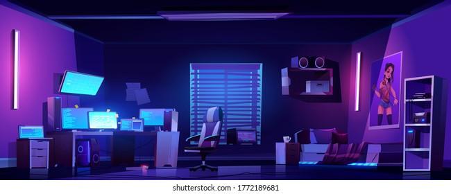 Teenager boy bedroom night interior, gamer, programmer, hacker or trader room with multiple computer monitors at work desk, unmade bed, 3d printer on shelf, placard on wall cartoon vector illustration