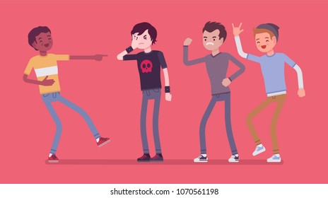 Teenager boy bullying and reaction. Youth abuse and mistreatment in social behaviour, psychological harm and three types to response, school children problems. Vector flat style cartoon illustration