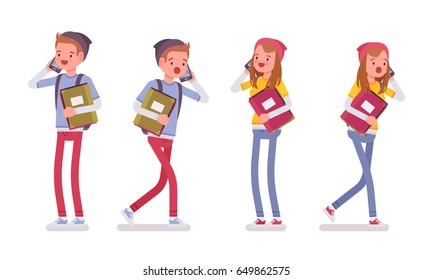 Teenager boy and girl wearing cute beanie and urban messenger rucksack, casual slim fit, walking with paper and talking on phone, vector flat style cartoon illustration, isolated, white background
