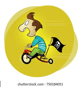 Teenager boy riding fast bicycle. Cartoon style vector illustration