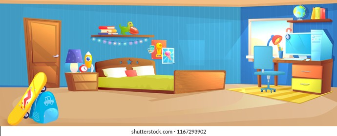 Teenager boy room interior design. With bed, workplace with desk and pc computer, shelves, and toys and skateboard. Vector cartoon illustration
