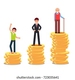 Teenager, business man & old senior standing on rising stacks of gold coins money. Pension plan savings and financial investments growth metaphor. Flat vector illustration isolated on white background