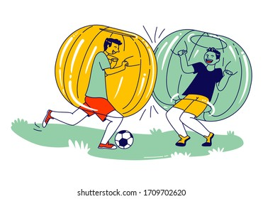 Teenager Characters Playing Soccer inside of Zorb Balls. Boys Running on Green Field Playing Zorbing Football. School Competition, Fun Sport Recreation, Summer Relax. Linear People Vector Illustration