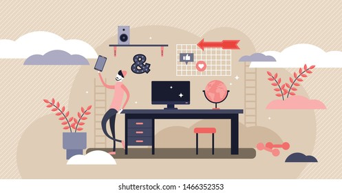 Teenager desk vector illustration. Flat tiny teen lifestyle persons concept. Room furniture for generation Z smart knowledge learning. Modern schoolboy apartment interior appropriate for gen Z youth.