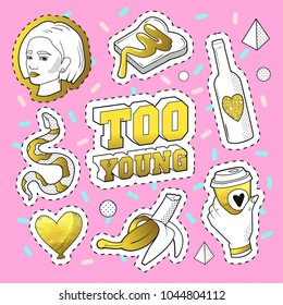 Teenager Fashion 80s-90s Golden Badges, Patches with Snake, Banana, Hand and Girl. Comic Style Isolated Stickers and Pins. Vector illustration