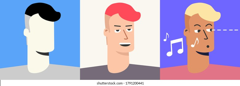 Teenager focuses and whistles. He has a stylish hairstyle for a guy. Colored pack of various sets and silhouette. Avatar. Vector Flat Illustration. Cartoon.