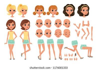 Teenager girl character creation set with various views, poses, face emotions, hands gestures and haircuts. Female character full length portrait. Isolated flat vector